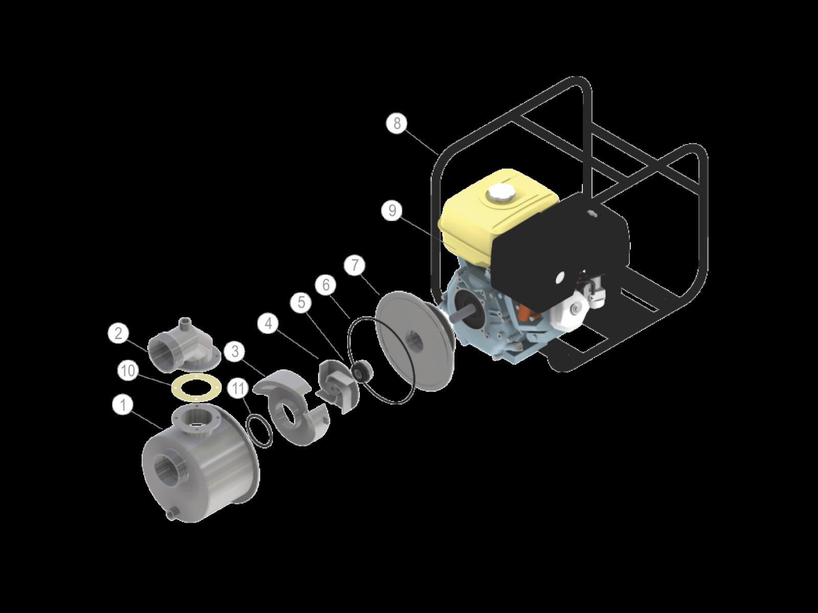 """MOTOBOMBA 3"""" (MOTOR BRANCO 7,0 CV - DIESEL)"""